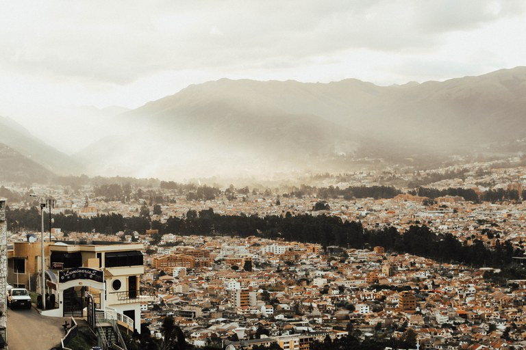 Cuenca Ecuador Mountain View Sunset on Historic Center
