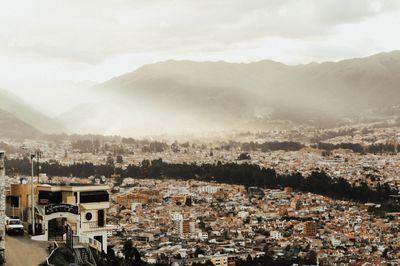 Cuenca Ecuador Mountain View Sunset on Historic Center