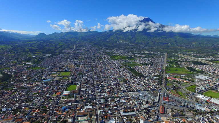Ibarra Ecuador - Capital of Imbabura City View from Above with Volcano View